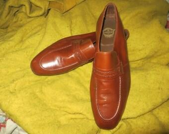 mens vintage 80's brown leather Florsheim  slip on loafers shoes sz 10.5
