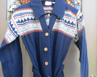 vintage 70s Aztec  hippie cardigan sweater  JACKET  Size med