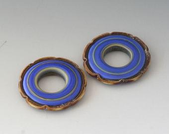 Rustic Ruffle Discs - (2) Handmade Lampwork Beads - Blue