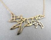 geometric fox charm, fox necklace, geometric fox necklace, geometric jewelry, fox jewelry