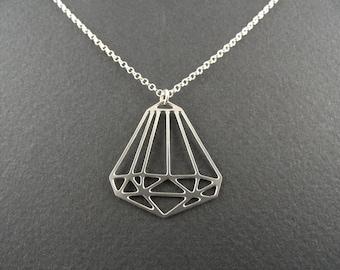 mini geometric diamond, diamond charm, diamond jewelry, diamond necklace, silver diamond, geometric jewelry, bling jewelry