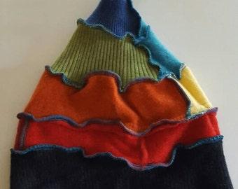Recycled Sweater Rainbow Elf Beanie Hat