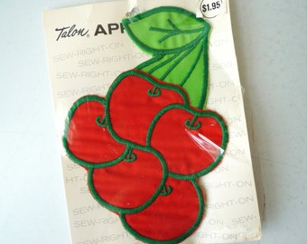 Vintage NEW Old Stock Cherry Applique,  1970s Fabric Cherry Applique, SALE