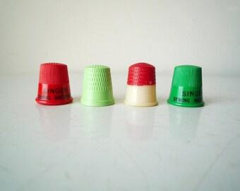 Vintage Plastic Thimbles Instant Collection of 4 / SALE