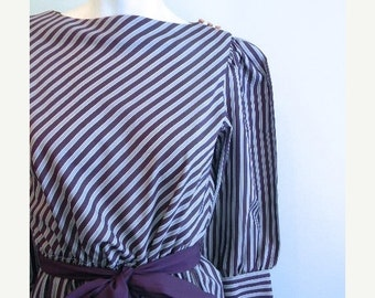 ON SALE vintage. 70s Purple and Gray Striped Sheer Dress // S to M