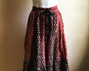 Vintage. Rare Color Block Indian Wrap Skirt •  Gypsy Boho Skirt  Small