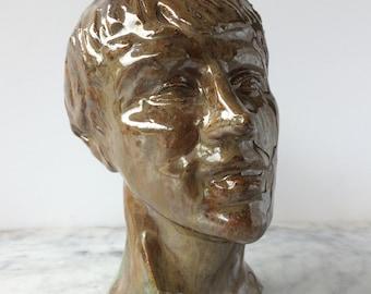 Glazed ceramic bust, portrait head sculpture of a woman with short hair, figure art life study
