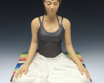 Yoga Art, Ceramic Figure Sculpture of a Woman in Meditation, Contemporary Buddha Statue, Vipassana Figurine, I Need This