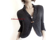 Hand Knit Bolero Women's Knit Cardigan Knitted Merino Wool Sweater Buttoned Ruffled Borders Jacket Custom Colors and sizes