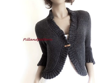 Hand Knit Bolero Women's Knit Cardigan Knitted Merino Wool Sweater Buttoned Ruffled Borders Jacket Custom Colors and sizes