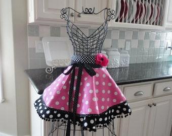 Bubble Gum Large Pink Dot - Sadie Style Women's HALF Apron ~ 4RetroSisters