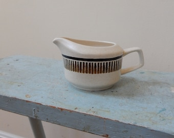 Temperware Lenox Percussion USA Oval Pitcher Creamer Gravy Boat Speckled Tan Umber Brown Stripe Flower Starburst Fab Mid Mod