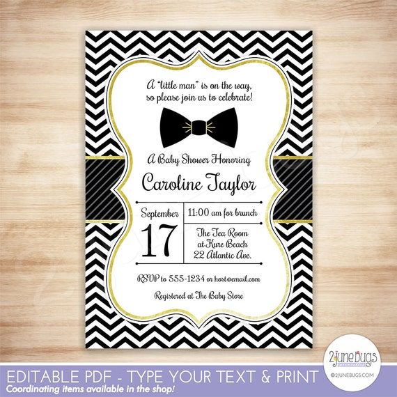 Bow Tie Baby Shower Invitation Little Man Baby Boy Shower