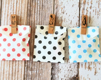 100pcs small Polka Dot paper bags Itty Bitty Bags