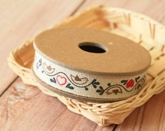 Love Birds Cotton Linen Ribbon sewing tape