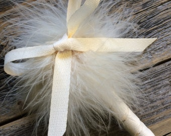 Ivory Canvas Feather Pen with Bow - Marabou Feathers - Refillable Ink - Guest Book Pen Weddings & Events