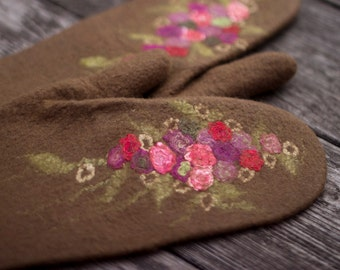 Merino wool mittens felted gloves nut brown mittens with silk flowers winter mittens arm warmers women gloves Christmas gift made to order