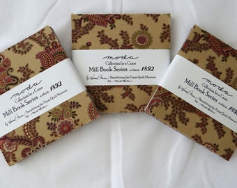 MILL BOOK Series 1892 charm packs (3) shabby quilt fabric Moda reproduction Collection Cause Howard Dunn PURPLE 5 inch