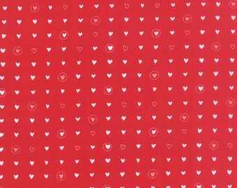 LIL RED Hearts 1/2 yd Moda fabric Folktale Fairytale sewing quilting Stacy Iest Hsu Valentines Love patchwork half yard 20506-13