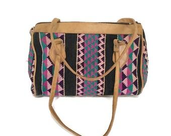 Leather Kilim Purse, Southwestern Handbag, Top Handle