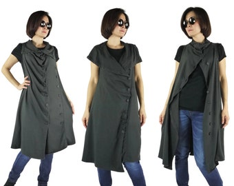 Funky Boho Sleeveless Double Breasted Charcoal Cotton Mix Polyester Jersey Tunic Dress Women Tops Freesize Can Fit From Size 0 To Size 14