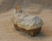 Goebel Nativity Baby Jesus in Manger Christmas Creche Scene Figure, Vintage 1987 W. Germany