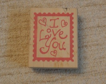 I Love You Rubber Stamp Wooden Back Stamper, 3 inches tall