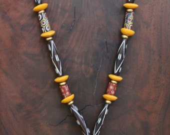 Lyme Sale Vintage Mali Spindle Bead Necklace w Old and New African Trade Beads on Leather Earthy Boho Ethnic Jewelry