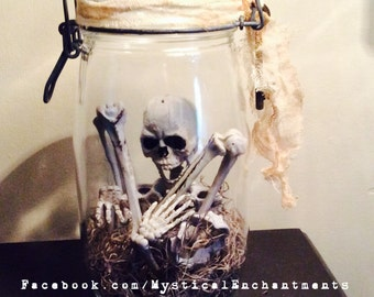 Halloween Skeleton Jar -Apothecary jar of Skeleton Bones
