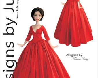 "PDF Outlander Claire Dress Pattern for 16"" Deja Vu Fashion Dolls Tonner"