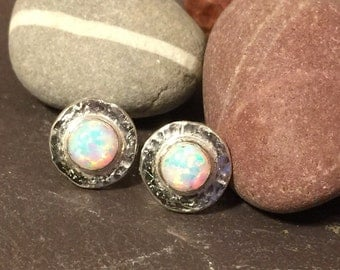 Handmade sterling silver & opal stud earrings with textured detail