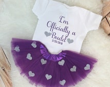 Adoption Adopt New Last Name I'm Officially Last Name Glitter matching Personalized Custom bodysuit tutu skirt set court outfit glitter baby