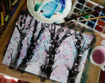 Blossom - Original Watercolour Painting 8,2 × 11,6 inches Spring Blooming Trees