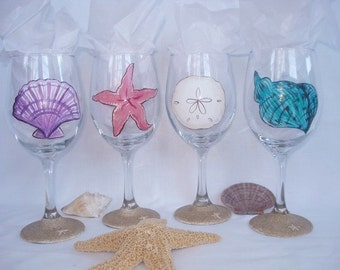 Hand Painted Sea Shell Wine Glasses with Sand - Set of 4 - Gift Wrapping Available