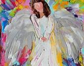 Original oil painting Angel of Love 6x6 palette knife impressionism on canvas fine art by Karen Tarlton