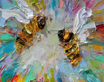 Bees painting original oil 6x6 palette knife impressionism on canvas fine art by Karen Tarlton
