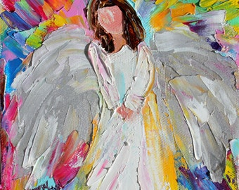 Original oil painting Angel of Love 6x6 palette knife impressionism on canvas fine art by Karen Tarlton