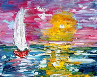 Original oil painting Silent Sunset Sailing - 6x6 palette knife impressionism on canvas fine art by Karen Tarlton