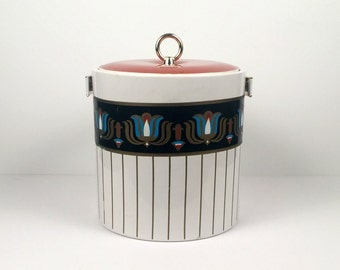 Vintage Bill Logan White Gold Blue and Orange Ice Bucket