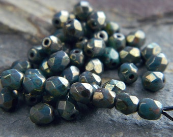 4mm Czech glass beads, Fire polished faceted round beads, Opaque Turquoise & Bronze Picasso (100pcs)