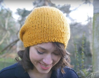 Teen Slouchy Hat, Womens Slouch Hat, Hand Knit Hat, Lightweight Chunky Slouchy Beanie, Winter Accesoriess, Yellow Gold