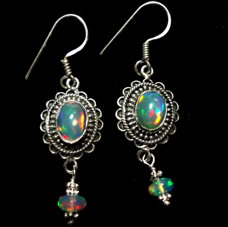 opal earrings genuine solid opal earrings with genuine