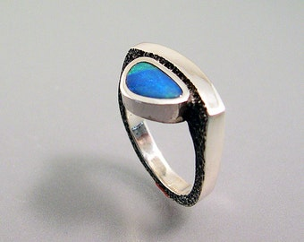 Australian Boulder Opal Ring Blue Green Sterling Silver