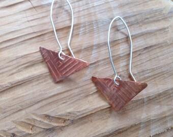 Copper Geometric Triangle Earrings