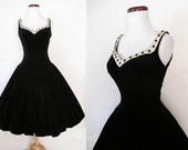 "Lovely 1950's Black Velvet Holiday Party Dress Satin Rhinestone Trim by ""Jr. Flair"" Rockabilly VLV Pinup Cocktail Dress Size-Medium"