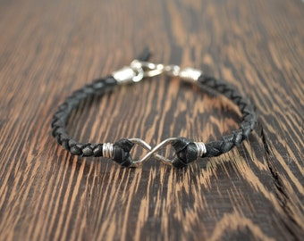 Men's Infinity Bracelet - Sterling Silver with Black Leather Band