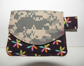 Army ACU Little Wallet with Multicolored Flowers
