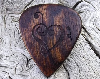 Wood Guitar Pick - Premium Quality - Handmade With Caribbean Rosewood - Laser Engraved Both Sides - Actual Pick Shown - Mini Guitar Pick
