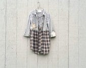 funky little plaid and denim Jacket Coat Dress - upcycled clothing women's clothing  tattered artsy cltohing by CreoleSha