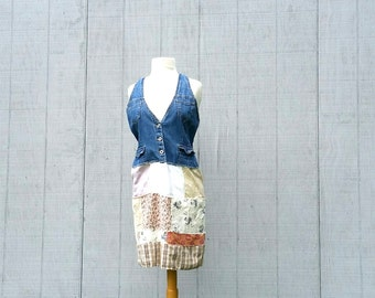 funky little romantic denim patchwork Dress floral - upcycled clothing women's clothing tattered and raw artsy cltohing by CreoleSha